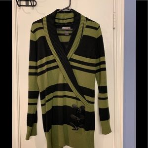 Women's green and black striped sweater